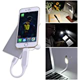 Laptop Computer USB Keyboard Light Lamp with Lightning Charging Port for iPad iPhone 5/5C/5S/6/6 Plus - Best Portable Led Book Reading Light - Mosquito Repellent Lights - Lifetime Warranty! (White)