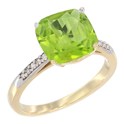 14ct Yellow Gold Natural Peridot Ring 9 mm Cushion-cut Diamond accent, sizes J - T