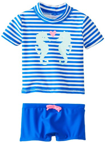 Carter'S Baby-Girls Infant Girls 2 Pack Sea Horse Striped Rash Guard Set, Navy, 18 Months front-214149