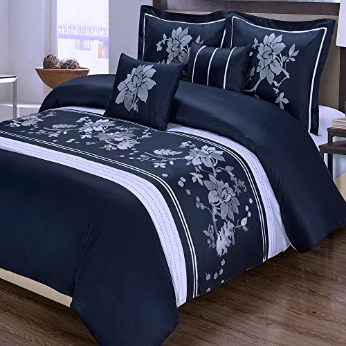 5pc Modern Floral Navy Blue White Cotton Bedding Duvet