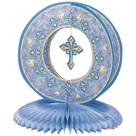 stained glass blue centerpiece 10inches