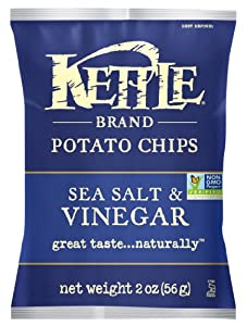 Kettle Brand Potato Chips, Sea Salt & Vinegar, 2-Ounce Bags (Pack of 24)