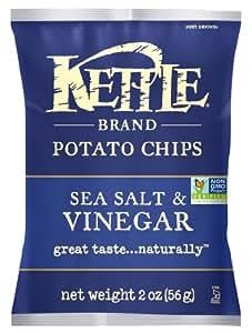 Kettle Brand Potato Chips, Sea Salt & Vinegar, 2-Ounce Bags (Pack of 24)