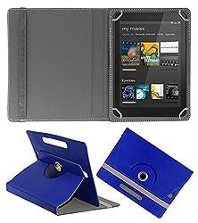 ACM ROTATING 360° LEATHER FLIP CASE FOR DELL VENUE 8 CELLULAR TABLET STAND COVER HOLDER DARK BLUE
