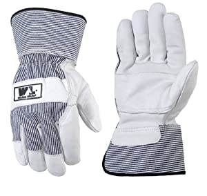 Wells Lamont 3301L White Mule Work Gloves, Pearl Gray With Railroad Strip, Large