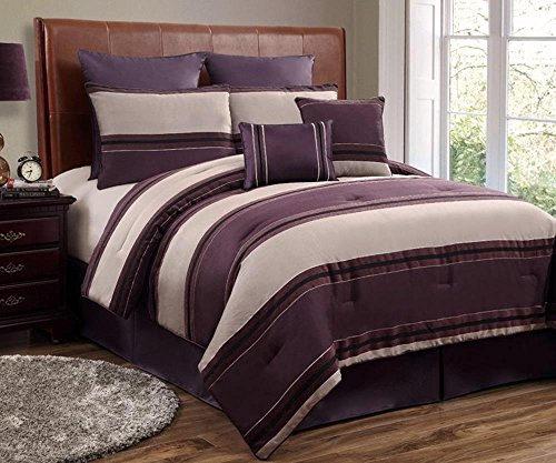 12Pc Cmbg. Plum/Beige/Black Luxury Bed-In-A-Bag -Includes 600Tc Sheet Set! <Br> Select Sheet Set Color When Ordering. front-897758