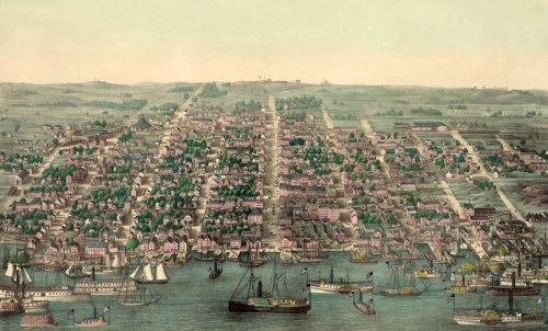 Nineteenth Century Bird's-Eye View of Alexandria, Virginia