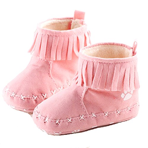 Newborn Warm Baby Girl Anti-slip Socks Slipper Boot Shoes Pink