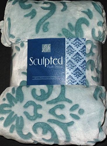 "Life Comfort Sculpted Plush Throw Blanket White W/Mint Green Swirls New 60""X70"""