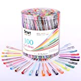 Smart Color Art - 100 Colors Gel Pen Set - No Duplicates - Colors Included: Classic Glitter, Neon, Standard, Milky & Metallic - For Coloring, Sketching, Drawing, Painting , Writing & Custom Artistic Creations!