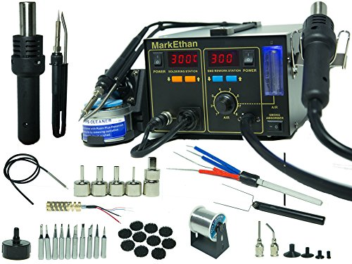 Best Prices! 4-in-1 Soldering Station Digital Hot Air Rework Station Vacuum 968DB+ w/ 11 Tips Smoke ...