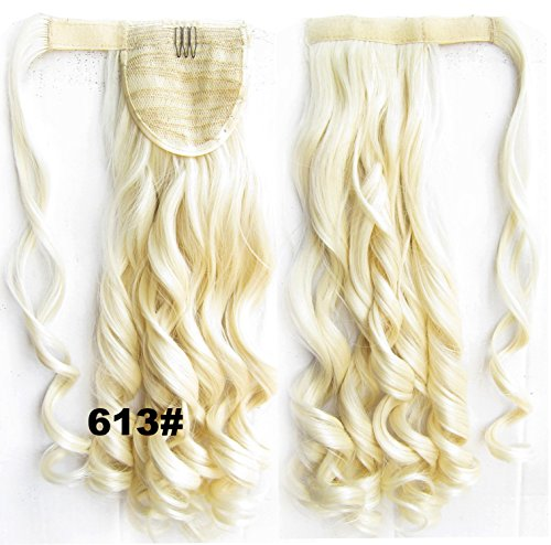 "A.H 1 Piece Clip In Wavy Ponytail Hair Extensions Wrap Around Pony Tail Hair Piece 22"" Long #613 Bleach Blonde"