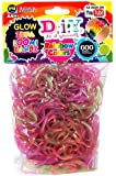 Loom Bandz 600 Translucent Glow-In-The -Dark Rainbow Rubber Bands with 'S' Clips