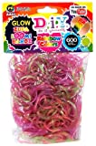 D.I.Y. Do it Yourself Zupa Loomi Bandz 600 Translucent Glow-In-The -Dark Rainbow Rubber Bands with S Clips