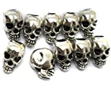 AROCCOM® 10pcs Approx Tibet Silver Skull Spacer Beads---Great DIY Accessories for Necklace, Bracelets and Earrings Making