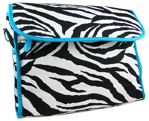 Ever Moda Blue Zebra Diaper Bag With Change Pad - 1