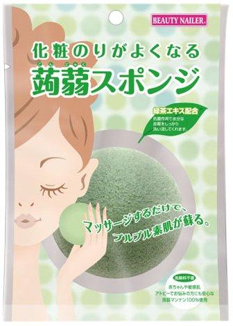 B.N 化粧のりがよくなる蒟蒻スポンジ 緑茶エキス KJSー2