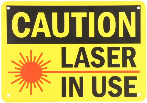 "Smartsign Plastic Osha Safety Sign, Legend ""Caution: Laser In Use"", 7"" High X 10"" Wide, Black/Red On Yellow"