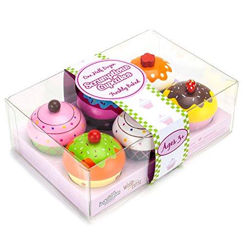 Wood Eats! Scrumptious Cupcakes Dessert Set (6pcs.) by Imagination Generation (Play Dessert Food compare prices)