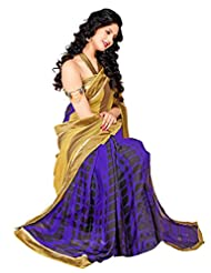 Riti Riwaz Beige & Blue Georgette Lace Border Casual Saree With Unstitched Blouse SDG5002A