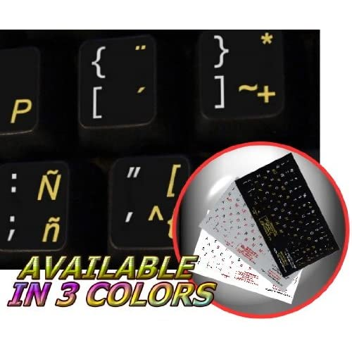 SPANISH (LATIN AMERICAN) NON-TRANSPARENT KEYBOARD STICKER ON BLACK BACKGROUND FOR DESKTOP, LAPTOP AND NOTEBOOK 4KEYBOARD