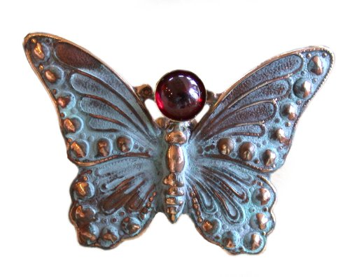 Verdigris Patina Solid Brass Butterfly Pin - Garnet