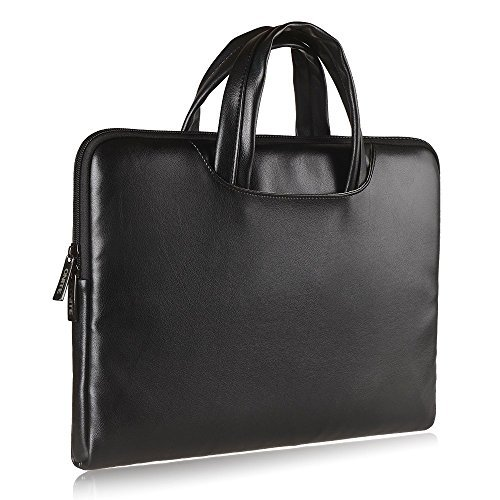 Onite® 10.1'' 11.6'' 12'' 13.3'' Borsa in PU pelle per notebook portatili Laptop Sleeve Case bag con manici per Samsung/Acer/Toshiba/Macbook/HP Stream/Tablets/Dell/Google Chromebook (nero, 11.6-12'')