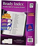 Avery Ready Index Classic Tab Titles, 31-Tab, 1-31, 8.5 X 11 Inches, Black/White, 31 per Set (11128)