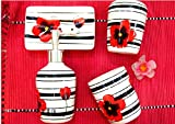 Exquisite Flower Painted 4 Piece Bath Ensemble ,Ceramic Bathroom Accessory Set with Soap Dish, Lotion Dispenser, Toothbrush Holder & Tumbler (black-red flower)
