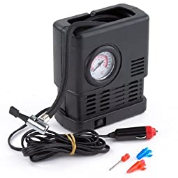 PrimeTrendz TM Portable 12 Volt Air Compressor with Pressure Gauge - Auto Repair Tire Tool Kit for Car, Truck, SUV, Bike, Caravan, Camping beds, Sporting Goods, Toys and more
