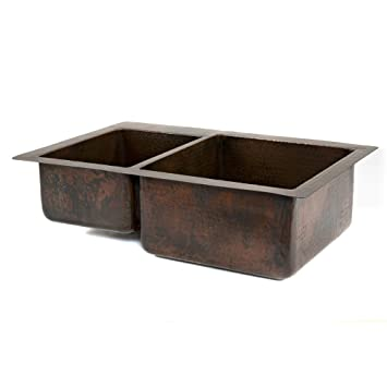 Premier Copper Products K40DB33229 33-Inch Hammered Copper Kitchen 40/60 Double Basin Sink, Oil Rubbed Bronze