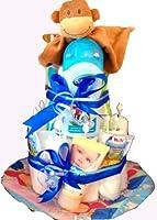 Windeltorte für Jungen mit vielen Extras. Das Geschenk zur Geburt, Geschenk zur Taufe o. Babyshower