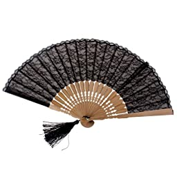 NSSTAR High Quality Lady\'s Girl\'s Vintage Retro Flower Lace Handheld Folding Hand Fan (Brown)