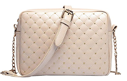 Bg Women Deluxe Minisize Classic Diamond Quilted Beige Pu Leather Shoulder Crossbody Evening Bags