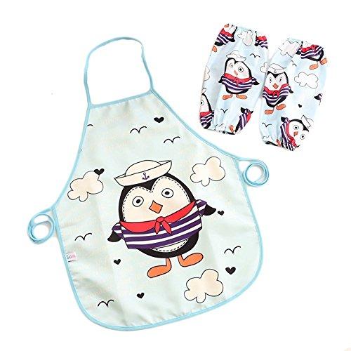 Miya super dolce bambini grembiule, impermeabile, con un paio di maniche quaderno, back grembiule, platino grembiule da barbecue grembiule da cucina pittura grembiule, immagine Pinguin Marine KS002
