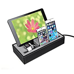 Apple Watch Stand , Show Wish® iwatch Iphone Ipad Charging Station Multiple,iphone Ipad Charging Dock,smartphone Desk Charging Station, Black Leatherette Apple Watch Charging Stand Cradle Holder