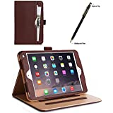 ProCase iPad mini 4 Case - Leather Stand Folio Case Cover for 2015 Apple iPad mini 4 (4th generation iPad mini, mini4), with Multiple Viewing angles, auto Sleep/Wake, Document Card Pocket (Brown)