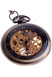 ShoppeWatch Hand Wind Mechanical Skeleton Pocket Watch Roman Numeral Steampunk Style With Chain - PW12