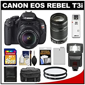 Canon EOS Rebel T3i 18.0 MP Digital SLR Camera Body & EF-S 18-55mm IS II Lens with 55-250mm IS Lens + 16GB Card + Battery + Case + (2) Filters + Flash + Cleaning Kit