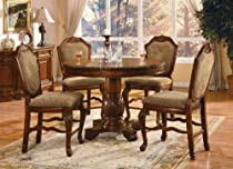 Hot Sale ACME 040482-SET Chateau de Ville 5-Piece Counter Height Dining Set, Table/4 Chairs, Cherry Finish