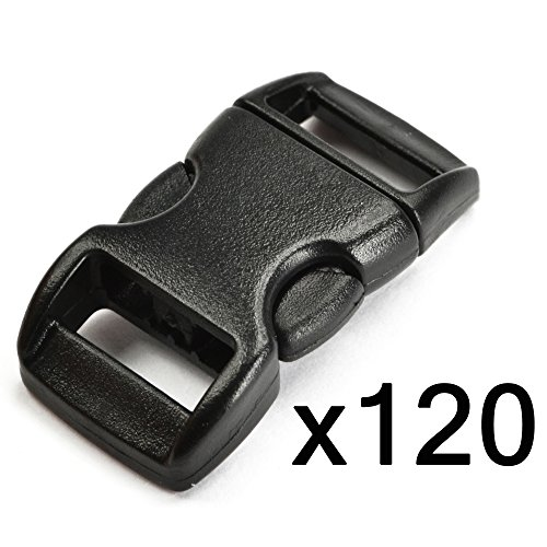 "Bluecell 120 PCS 3/8"" (10mm) Black Contoured Side Release Plastic Buckles"