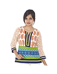 Parinita Women Orange Cotton Printed Short Top - B00PW0KPPI