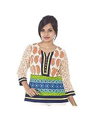 Parinita Women Orange Cotton Printed Short Top - B00PW0KPPI