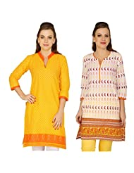 Cenizas Women's Cotton Yellow Kurtas Pack Of 2 ( 2041YLOW & 2042ORG)
