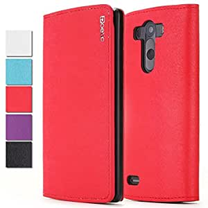 LG G3 Case - Poetic LG G3 Case [FlipBook Series] - [Lightweight] [Professional] PU Leather Protective Flip Cover Case for LG G3 Red (3 Year Manufacturer Warranty From Poetic)