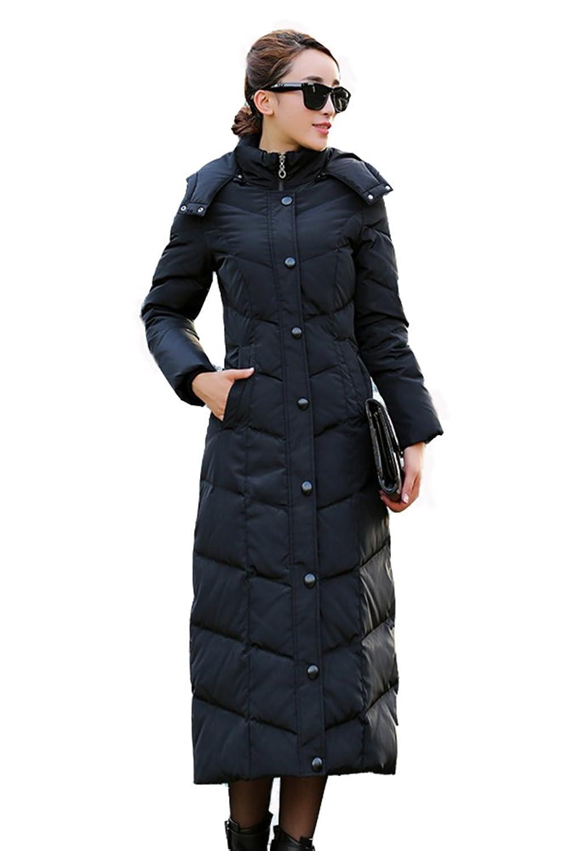 Lange Damen Daunenjacke Daunen Mantel Jacke mit Kapuze(abnehmbar) Schwarz / Rot / Blau günstig kaufen