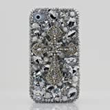 3D Swarovski Diamond Silver Cross Crystal Bling Case Cover faceplate for iphone 4 4S AT&T Verizon & Sprint (Handcrafted by BlingAngels)