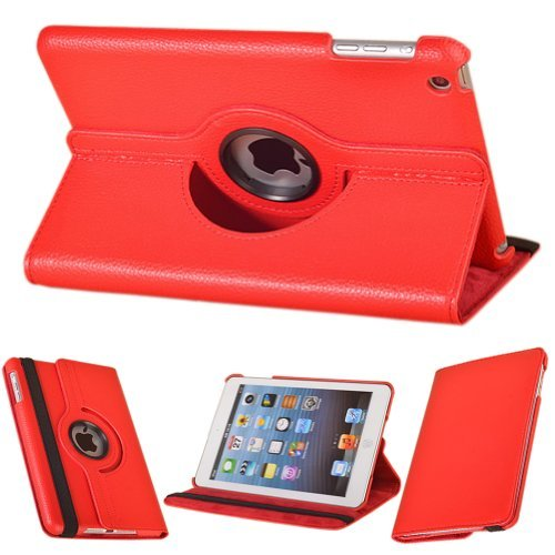 New 360 Degree Rotating Pu Leather Wake / Sleep Smart Case Cover With Swivel Stand For Apple Ipad Mini 7.85 Inches Tablet (Red)