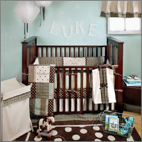 My Baby Sam Mad About Plaid Crib Bedding Set, Blue