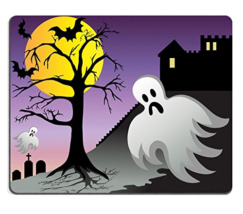 [MSD Natural Rubber Gaming Mousepad IMAGE ID: 3628859 Spooky halloween ghost and bats fly around castle with graves at] (Danger Mouse Halloween Costume)